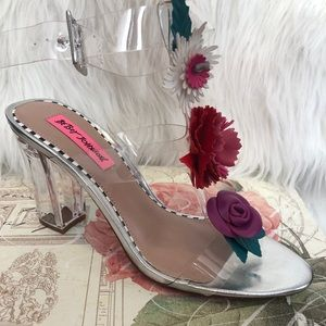 Betsey Johnson clear block heel with flowers